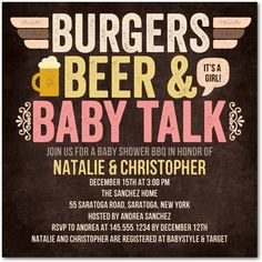 Baby Shower Invitations Burgers Beer n' Baby - Front : Posies $40 for 20