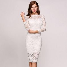 Lace 3/4 Sleeve Round Collar Sexy Package Hip Bodycon Going Out Dress