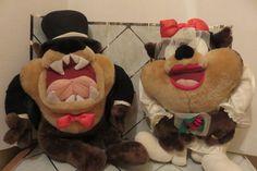 "Tasmanian Devil TAZ Groom Tuxedo TopHat & She Devil Bride 24"" Stuffed Plush Toys"