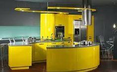 Lovely Design Yellow Kitchen With Grey Countertops Yellow Kitchen Cabinets, Types Of Kitchen Cabinets, Kitchen Paint, Home Decor Kitchen, Interior Design Kitchen, Kitchen Furniture, Kitchen Yellow, Yellow Kitchens, Kitchen Ideas
