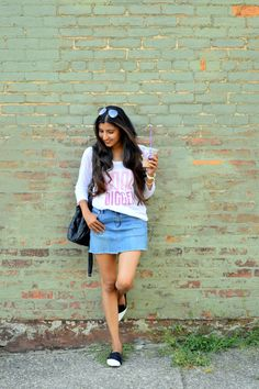 More on www.missminussized.com with @qteeshirts #goaldigger #denim #graphictee #casual