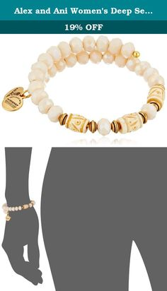 Alex and Ani Women's Deep Sea Wrap Bracelet Shore/Gold One Size. Made in United States. Signature Expandable Bangle crafted in our Rafaelian Gold Finish and adorned with gentle cream glass beads. Made in USA.