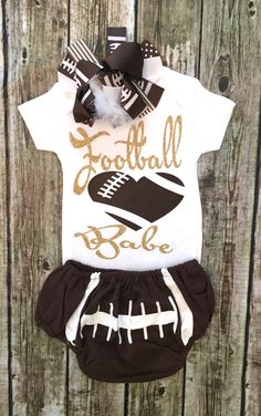 A personal favorite from my Etsy shop https://www.etsy.com/listing/469902913/football-babe-onesie-football-bodysuit