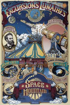 Space Mountain Jules Verne poster in Discoveryland Disneyland Paris DLP Retro Disney, Art Disney, Disney Kunst, Disney Magic, Disney Pixar, Disney Villains, Jules Verne, Disneyland Vintage, Disney Parks