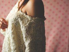 thrifted american apparel 3d flower mesh jumper