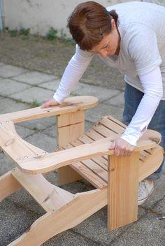 Teak Adirondack Chairs, Adirondack Furniture, Outdoor Chairs, Yard Furniture, Woodworking Furniture, Woodworking Plans, Woodworking Projects, Wooden Garden Chairs, Diy Storage Bench