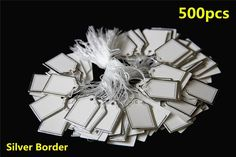 500 White Paper String Price Tag Tie Silver Border Label Jewellery Watch Display