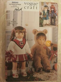 "VOGUE CRAFT PATTERN 9895 FOR CHEER LEADING COSTUME & BEAR COSTUME FOR 18"" DOLL #VOGUECRAFT"