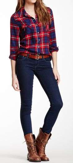 Red and blue shirt with a blue jeans.