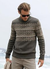 Ravelry: Project Gallery for 575 - Sweater pattern by Bergère de France Nordic Pullover, Nordic Sweater, Grey Sweater, Fair Isle Pullover, Pull Jacquard, Style Masculin, Fair Isle Knitting, Sweater Knitting Patterns, Pulls