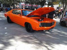 71 -72 chevelle orange and black, with painted bumpers