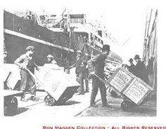 1897 loading ships in Seattle for the Alaska gold rush. ~ Seattle exploited its nearness to the Klondike and the already established shipping lines to become the premier outfitting point for prospectors. The link became so strong that Alaska was long considered to be the personal property of Seattle and her people.