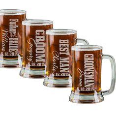 16 Oz Groomsmen Beer Mugs Engraved Wedding Party Groomsman Best Man Groom Father of the Bride Gift Bulk Discounts Glass Beer Stein Etched