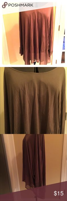 Marseille Plus size 3X tunic blouse Super easy to wear plus size 3X tunic blouse. Sheer banding at the bottom of the blouse with a scoop neckline. Color is a rose taupe shade marseille Tops Blouses
