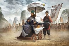 Zhuge Liang, Chancellor of the Kingdom of Shu, leading the army at Wuzang Plain…