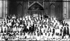 Teachers and students from the school for girls in Ishqabad.