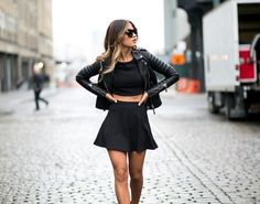 flair skirt, crop top, leather jacket