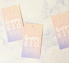 Happy Eid gift tags in Unicorn inspired ombré . modern Eid and Ramadan decorations from modernEID. Set of 5 tags. Old Christmas, Christmas Gifts, Eid Banner, Muslim Holidays, Eid Party, Blue Ombre, Pink Blue, Ramadan Decorations, Happy Eid