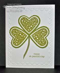 HAPPY ST. PATRICK'S DAY!, Clean & Simple Shamrock Card...Stamp Sets – Take It To Heart & Teeny Tiny Wishes...By:mariestamps
