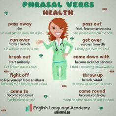 Phrasal Verbs: Health - We can use a lot of phrasal verbs to talk about illnesses. A tool that can remind child life and other staff how confusing language can be and that often times children, esp preschool and school-age take words literally English Vinglish, English Verbs, English Phrases, English Writing, English Study, English Lessons, English Grammar, Learn English, Grammar And Vocabulary