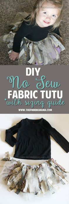 DIY No Sew Fabric Tutu Dress - These are the best step by step directions for making a fabric tutu.  It even has a size chart so you can make it for any age little girl!