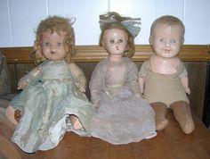 3 Antique Vintage Composition Dolls Parts Repair LOT TLC