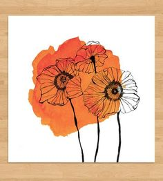Poppies Watercolor Spot Art Print by Morgan Kendall Art on Scoutmob