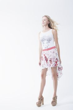 Ambri' face print vest paired with high low printed chiffon skirt