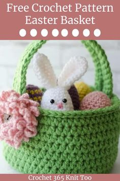 Easter Crochet Patterns, Crochet Basket Pattern, Crochet Baskets, Knit Basket, Diy Crochet Easter Basket, Easter Egg Pattern, Basket Weaving, Flower Patterns, Crochet Hooks