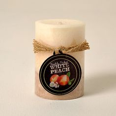 White Peach Scented Distressed 4 Inch Candle     List $7.94   SKU 116876 Medium   2.75 inches wide x 2.75 inches long x 4.00 inches high