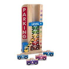 Opstapelen en tellen in parkeergarage  Met deze houten parkeergarage met slagboom leer je auto's sorteren. Met dit spel kun je ook leren tellen en overeenkomsten te vinden.  EUR 19.99  Meer informatie