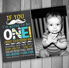 Mustache Birthday Invitation Moustache Party Boy By CLaceyDesign 1500 First Baby