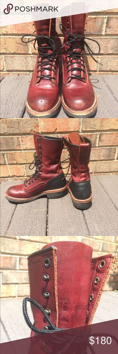 Men's Vintage Red Wing Boots Very good condition! They are a men's size 8D, all real leather Crimson boot w black accents. I polished and cleaned these up myself after purchasing; condition and appearance has largely improved since. They're ready for a good home. Price is somewhat negotiable... Comment if you have any questions or concerns. Red Wing Shoes Shoes Combat & Moto Boots