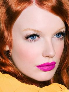magenta lips, blue eyes, red hair ... striking color
