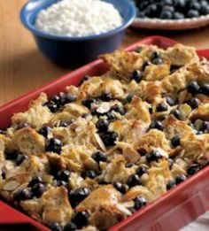 Blueberry French Toast Casserole: You won't believe how healthy and filling this recipe is! Packed with 23 grams of protein to keep you full 'til lunch thanks to a secret ingredient! | via @SparkPeople #breakfast #brunch #food