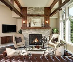 living room stone fireplace and interesting beam ceiling treatment
