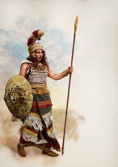 """La Dea Atena (atana potinija micenea) -  Una insolita versione della dea Atena, più spesso conosciuta attraverso la sua immagine classica, armata di tutto punto nella sua veste """"primordiale"""" micenea."""