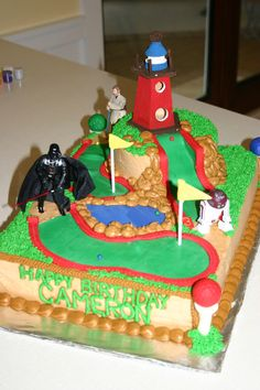 Like the concept here. Maybe decorate the course with camping stuff (a fire, a bear, a tent, etc). golf cakes for men cake ideas (This is an affiliate link) Check out the image link even more information. Star Wars Cake, Star Wars Party, Golf Cake Toppers, Golf Cakes, Baby Birthday, Birthday Parties, Birthday Cakes, Mini Golf Near Me, Star Cakes