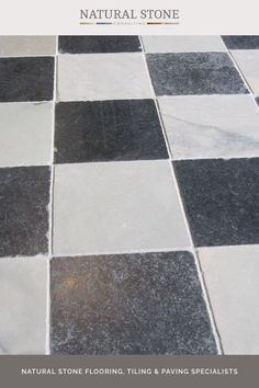 Choose our Belgravia stone quarry tiles in century finish for indoor floors, high-traffic areas and underfloor heating. Featuring antiqued, old looking white with grey tones and black checkered flooring, its been authentically aged to create a time-worn reclaimed-style material. Find it in our antiqued stone collection on our website. #naturalstoneconsultancy #naturalstoneflooring #stonequarrytiles Quarry Tiles, Stone Quarry, Stone Tiles, Luxury Interior, Interior And Exterior, Checkered Floors, Natural Stone Flooring, Underfloor Heating, Natural Stones