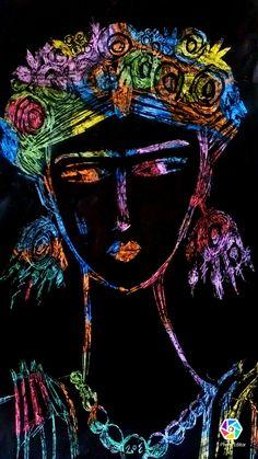 Frida Kahlo en crayon y tinta china. Tinta China, Painting, Fictional Characters, Frida Kahlo, School, Art, Paintings, Draw, Drawings