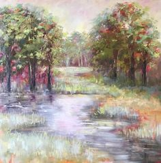 This is an original inch oil painting on canvas. The scene is from Madison, MS. 48 x 48 Oil Painting On Canvas, Pond, Southern, Scene, Sunset, Mississippi, Paintings, Art, Products