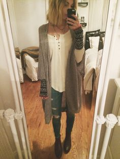 OOTD // rag & bone skinnies, free people thermal (sisters) aritzia cardigan, urban brown ankle boots + layered necklaces
