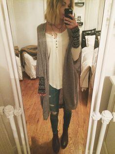 OOTD // rag & bone skinnies, free people thermal (sisters) aritzia cardigan, urban brown ankle boots + layered necklaces