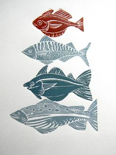 fish Mangle Prints by Amanda Colville