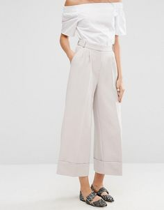 ASOS TALL High Waist Culottes with Deep Turn Up