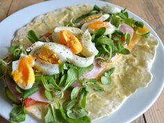 tortilla wrap met ei, ham, komkommer, tomaat, kaas, sla en truffelmayonaise