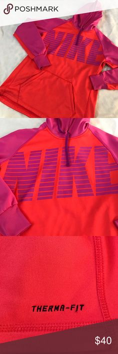 Nike Therma-Fit shot Pink Hoodie Purple, pink, and orange color. Thumb holes. Excellent condition. Soft inside. Has Nike logo across chest. Bundle 2+ items and save with my 20% bundle discount. Nike Tops Sweatshirts & Hoodies