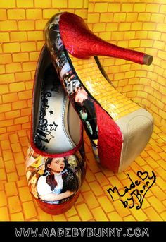 Wizard of Oz handmade shoes with Red Glitter heels & Yellow Brick Road sole / Stilettos / Pump / Wedge on Etsy, $85.00