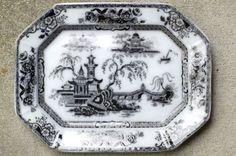 "Edward Challinor 13"" Pelew English Ironstone Mulberry Octagon Platter 1850's"