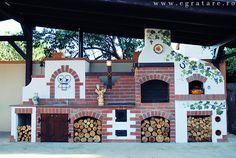 Fabrika de Case - www. Barbecue Area, Bbq Grill, Bbq House, Gazebo, Pergola, Outdoor Fireplace Designs, Outdoor Pavilion, Summer Kitchen, Outdoor Kitchen Design